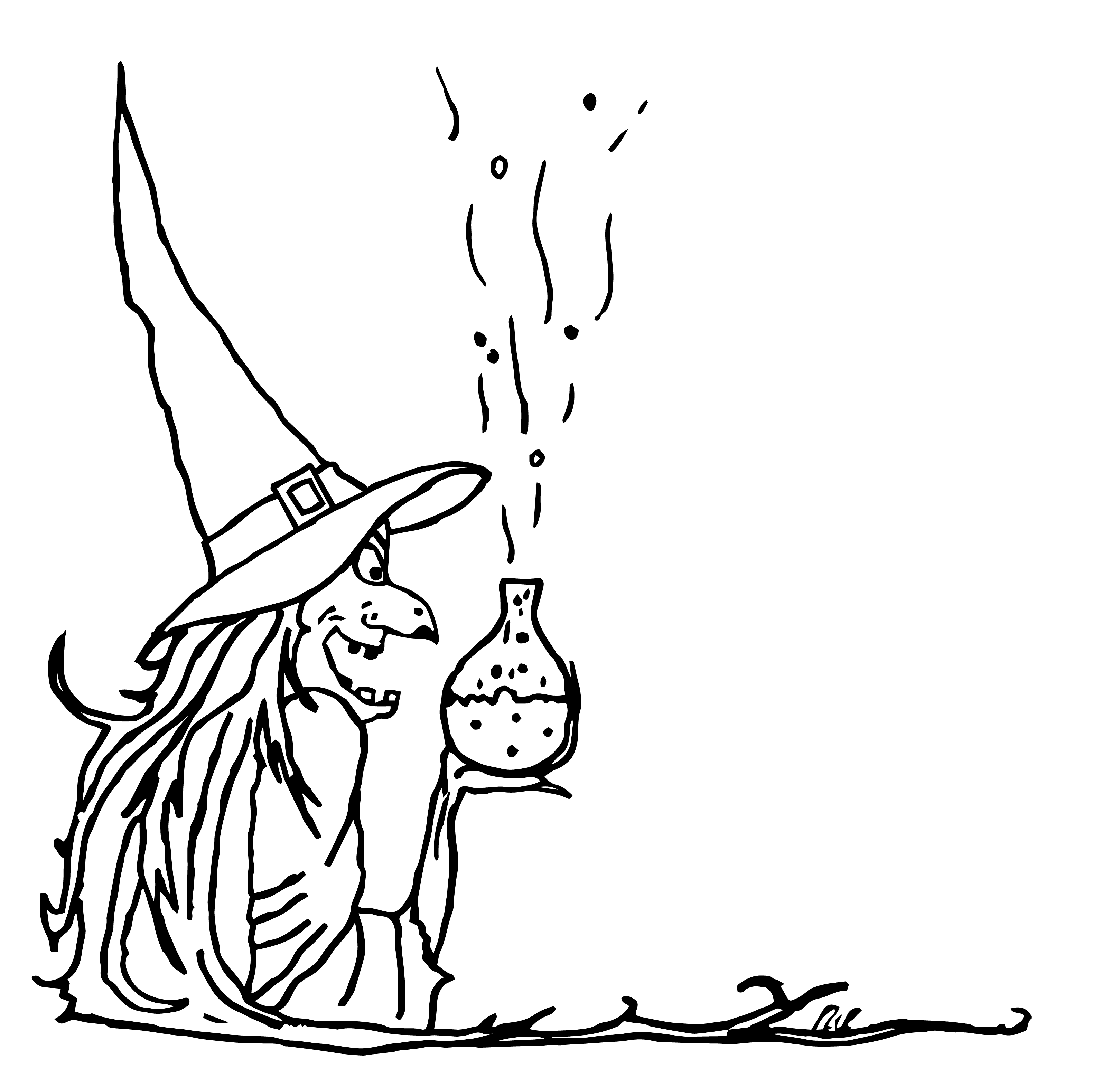 Gruselige Hexe mit Flasche